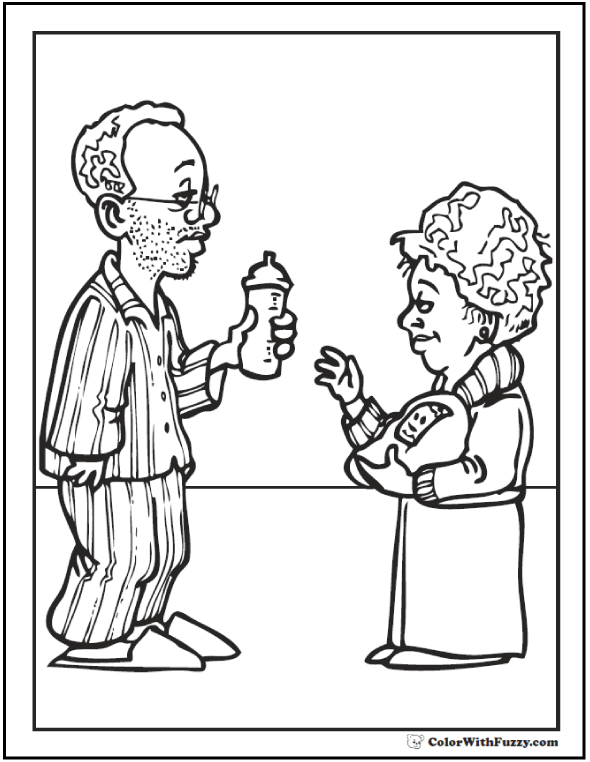 New parents Father's Day coloring sheet: shows Dad getting baby's bottle for Mom.