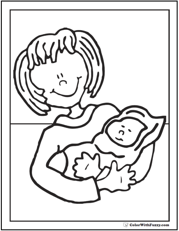 New Mom Coloring Page