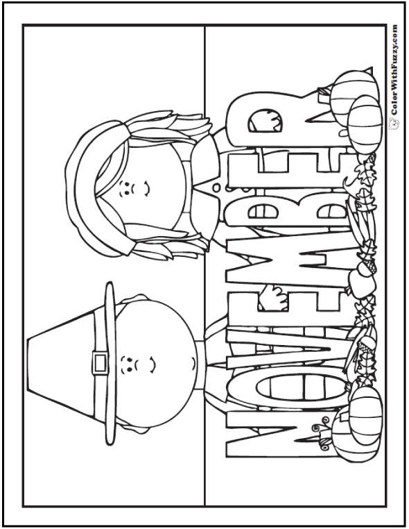 November Coloring Pages for Thanksgiving Day and Pilgrim History.