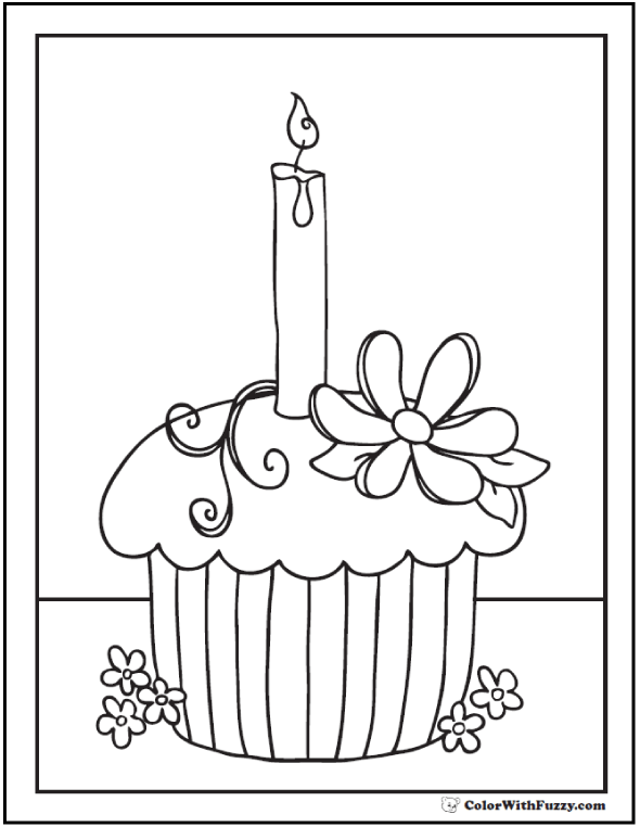 Flowers and Candle Cupcake Coloring Printable