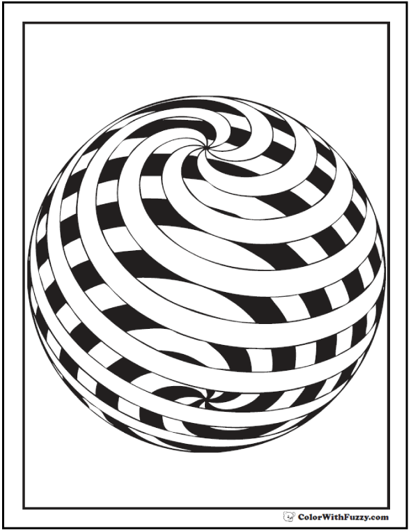 Open Spiral Sphere Coloring Sheet
