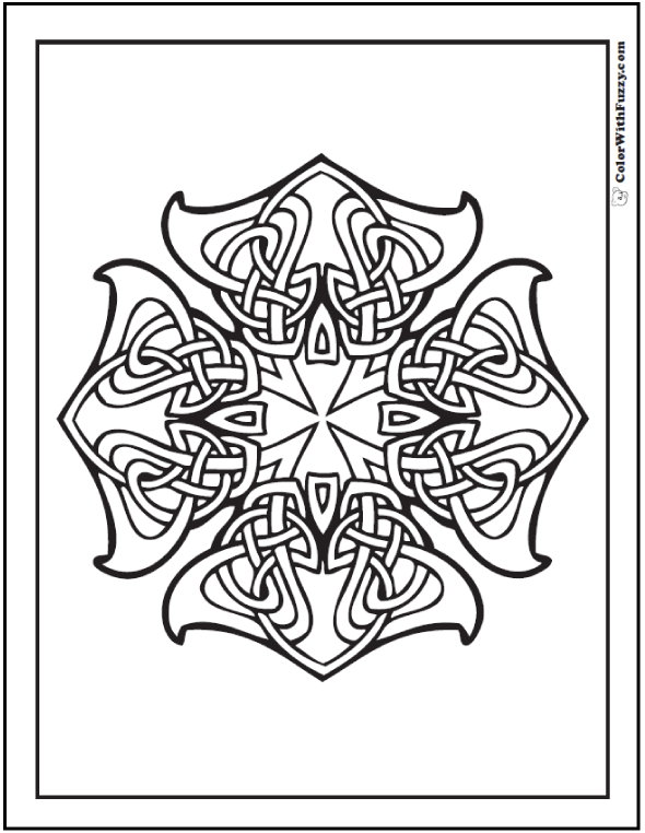 ColorWithFuzzy.com Celtic Designs:  Ornate Celtic Cross Design