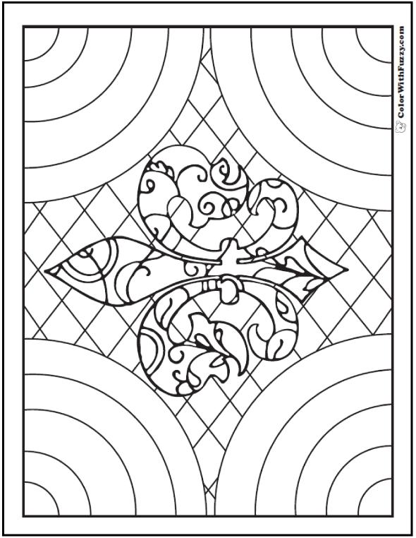 Adult Coloring Pages:Ornate Fleur de Lys