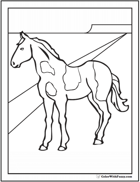 Printable Coloring Sheet of A Pinto or Paint Horse Coloring page