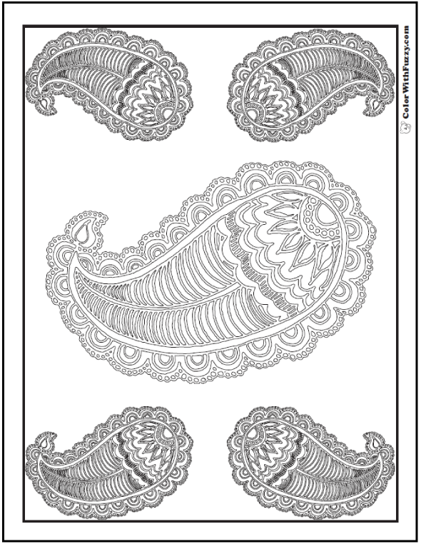 Five Paisley Adult Coloring Sheet