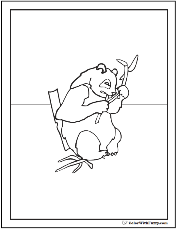 Realistic Panda Bear Coloring Picture: Eating Bamboo