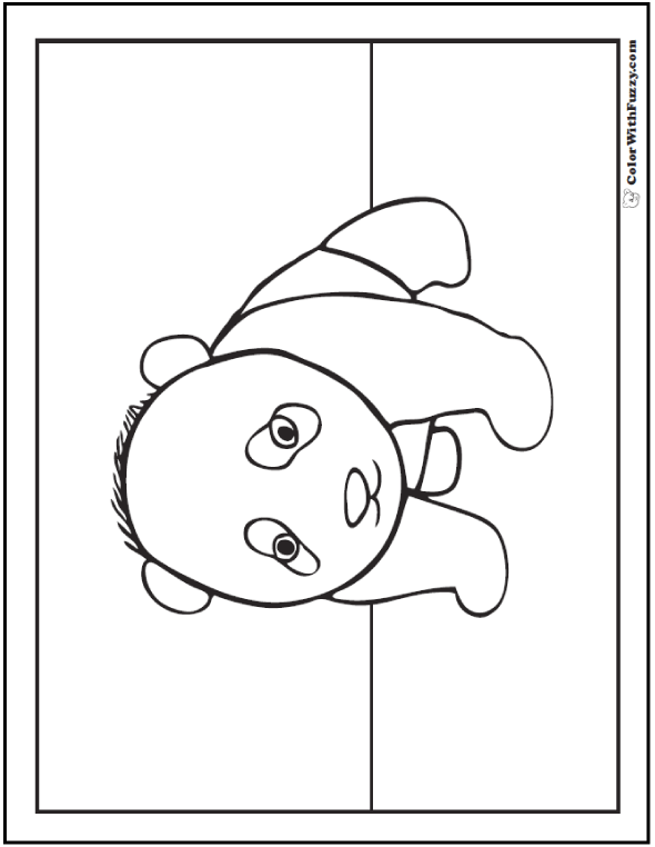 Panda Coloring Pages Bamboo And Baby Pandas