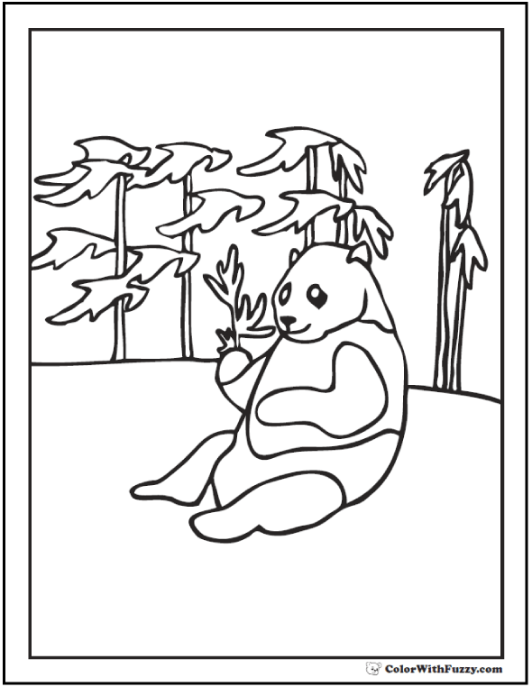 Panda Coloring Pages Bamboo And