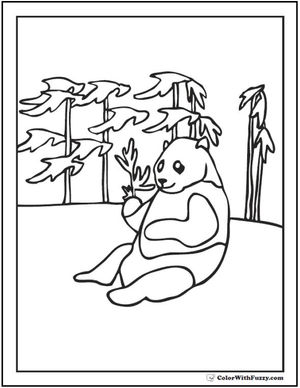 Panda Coloring Pages Bamboo And Baby Pandas