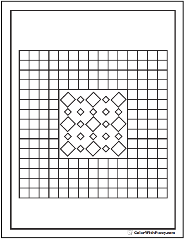 Pattern Coloring Sheets: Diamond centered squares.