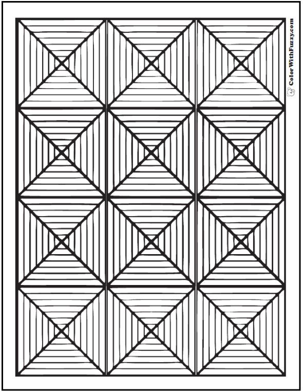 Exceptional Triangle Diamond Patterns Coloring Pages