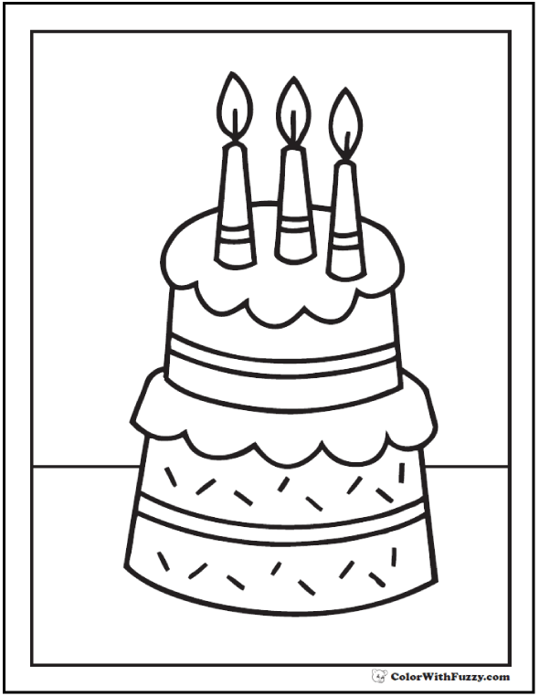 Third Birthday PDF Cake Coloring Page
