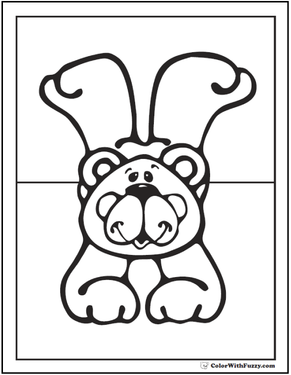 Teddy Bear Coloring PDF.