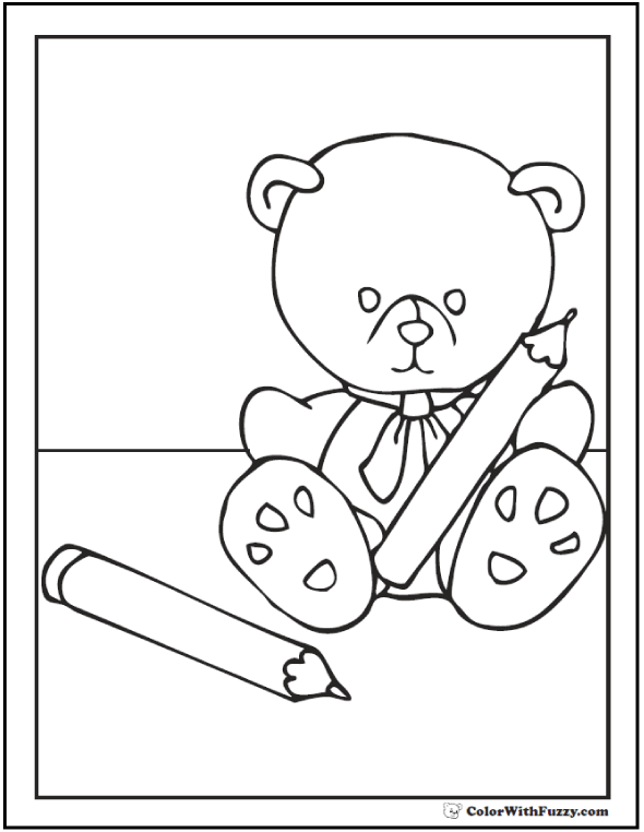 Darling Teddy Bear with pencils. Ready for School!