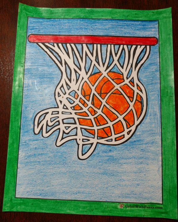 Basketball hoop coloring sheet.