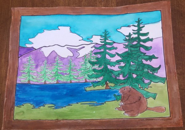 Realistic beaver habitat pages to color.