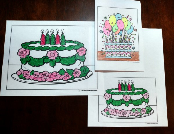 Printable Birthday Card Coloring Pages Print A Using Your Printers Booklet Setting