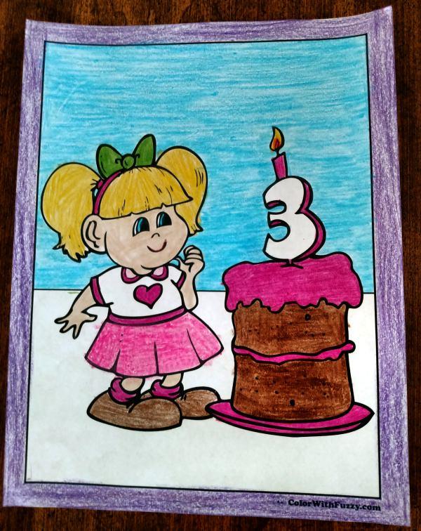 Birthday Cake Coloring Sheet