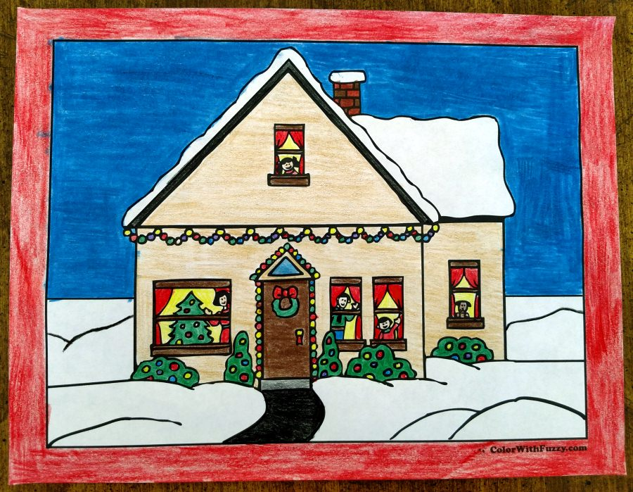 Christmas Coloring Picture: House with Christmas family and decorations.