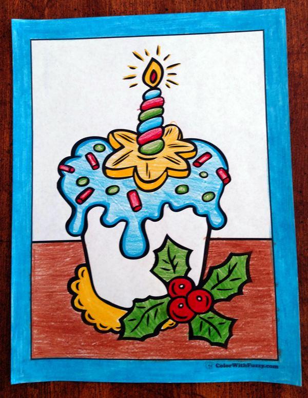 Christmas Cupcake Coloring Page