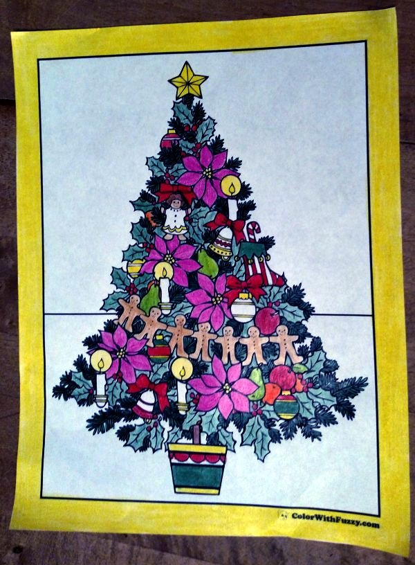 Coloring Page Christmas Tree: Trimmed with star.