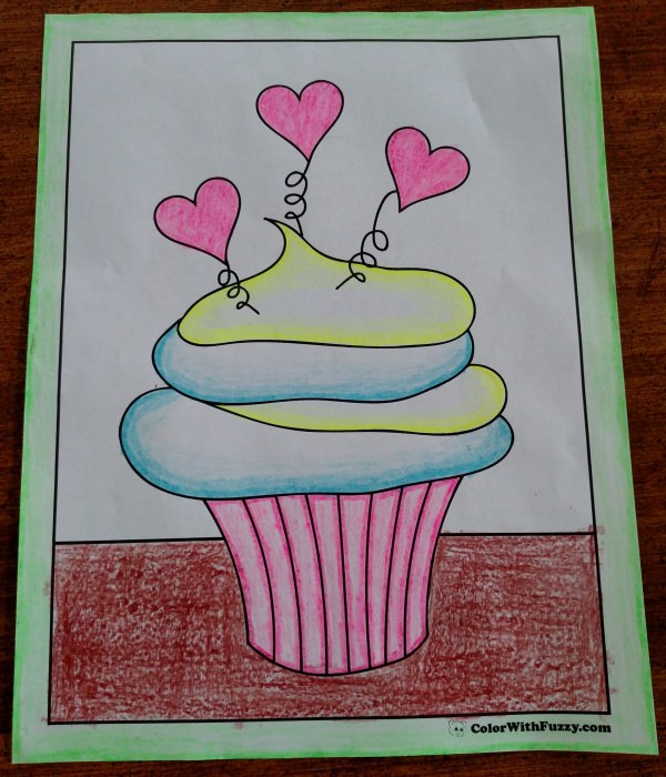 Hearts And Springs Kids' Cupcake Coloring Picture