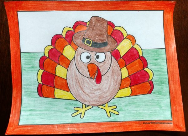30 turkey coloring pages interactive pdfs for Thanksgiving coloring pages already colored