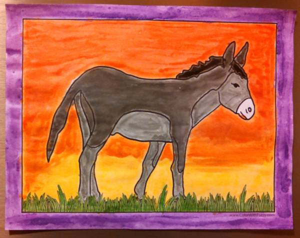 Lovely Bible and farm donkey pages for kids to color.