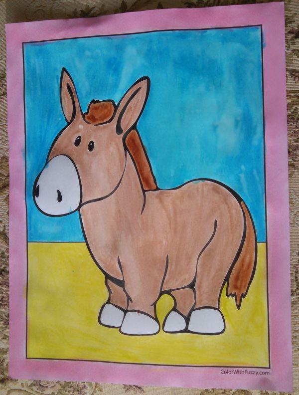 Cute Donkey Coloring Sheet