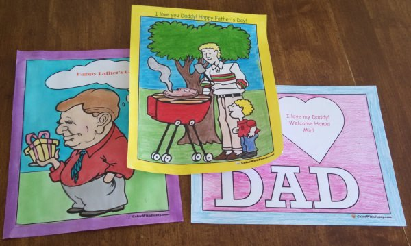 Dad and Grandpa love when their kids color pictures like these.