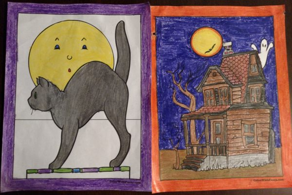 Halloween Printable Coloring Pages: Bats, Cats, Houses, Moons, Pumpkins