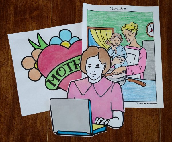 Awesome Mothers Day Coloring Pages These Are Interactive You Can Type Personal Notes To Mom Enjoy