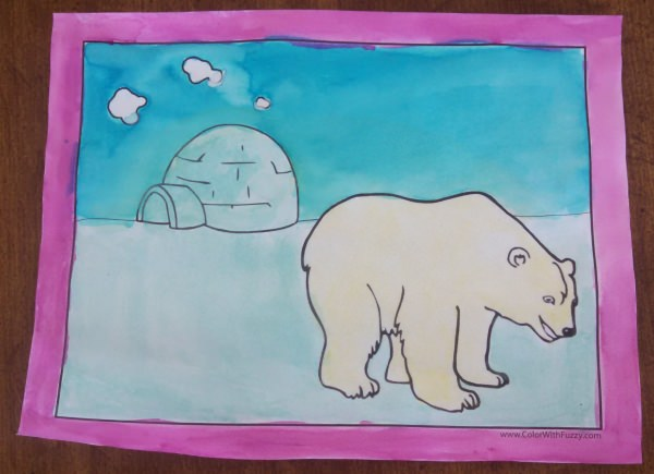 Iceburg and Polar Bear Coloring Printables at ColorWithFuzzy.com. So cool! Brrr....
