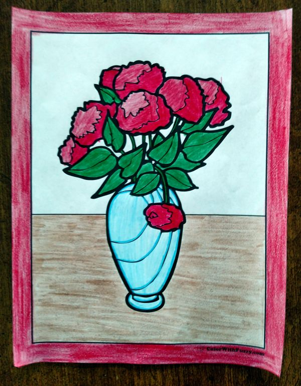Rose Coloring Pages - Red bouquet in vase.