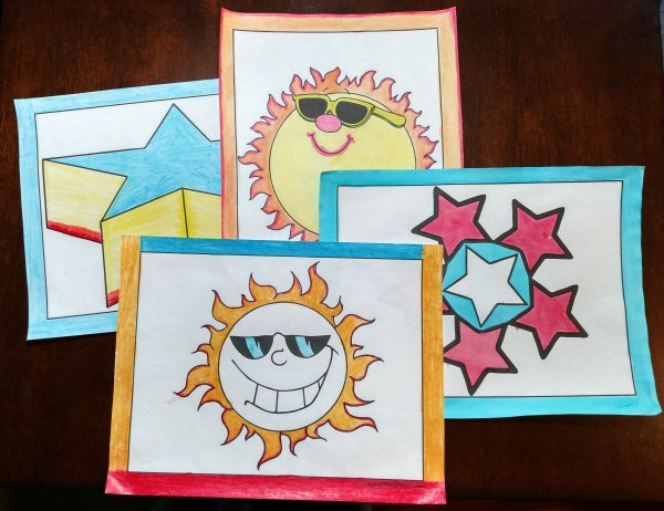 Sun and Star Coloring Pages