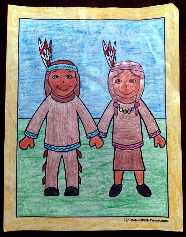 Thanksgiving Coloring Sheets: Indians