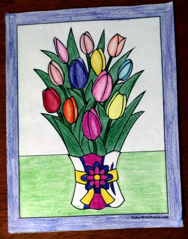 Tulip Coloring Page - Bouquet of Tulips.