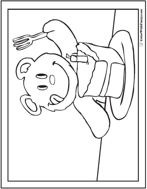 Bear with piece of cake coloring picture.