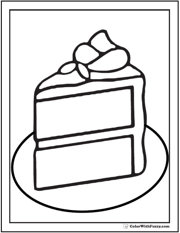 Piece of cake coloring PDF.