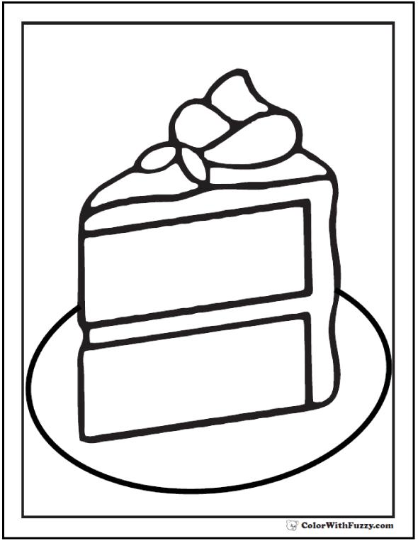 Piece of cake coloring PDF.