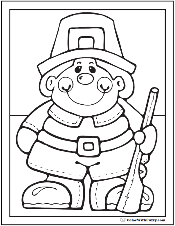 Pilgrim Boy Coloring Page For Thanksgiving