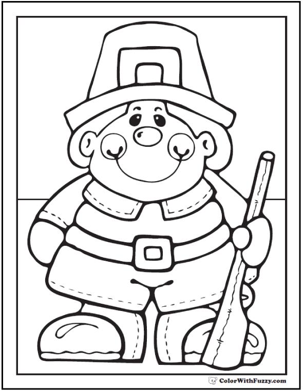 Pilgrim Boy Coloring Printable For Thanksgiving