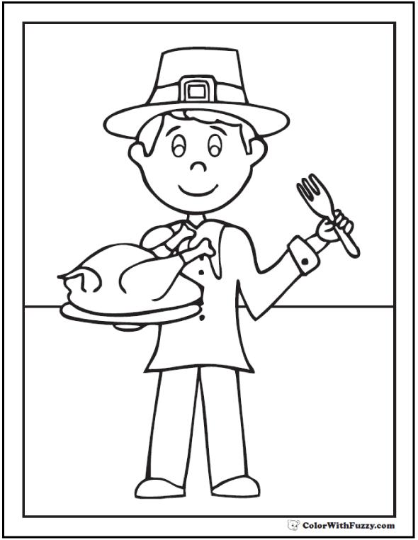 Pilgrim Coloring Page: Pilgrim hat, turkey dinner.