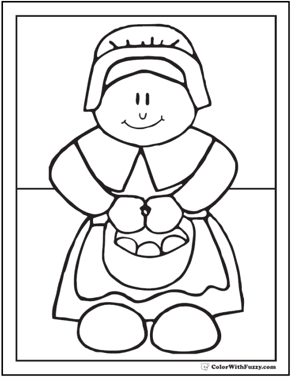 Pilgrim Coloring Picture: Lady carrying basket of eggs or rolls.