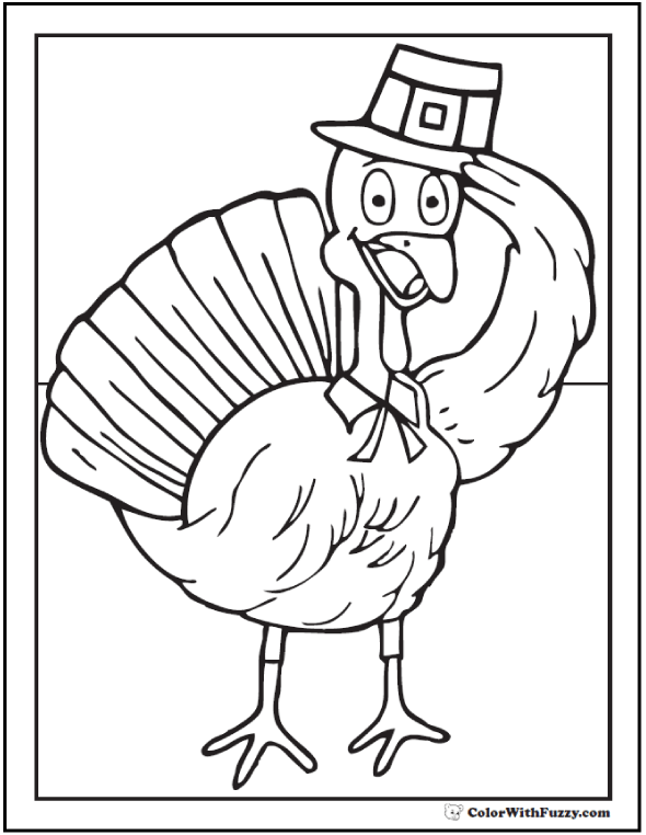 Pilgrim Turkey Coloring: pilgrim hat and collar with tie.