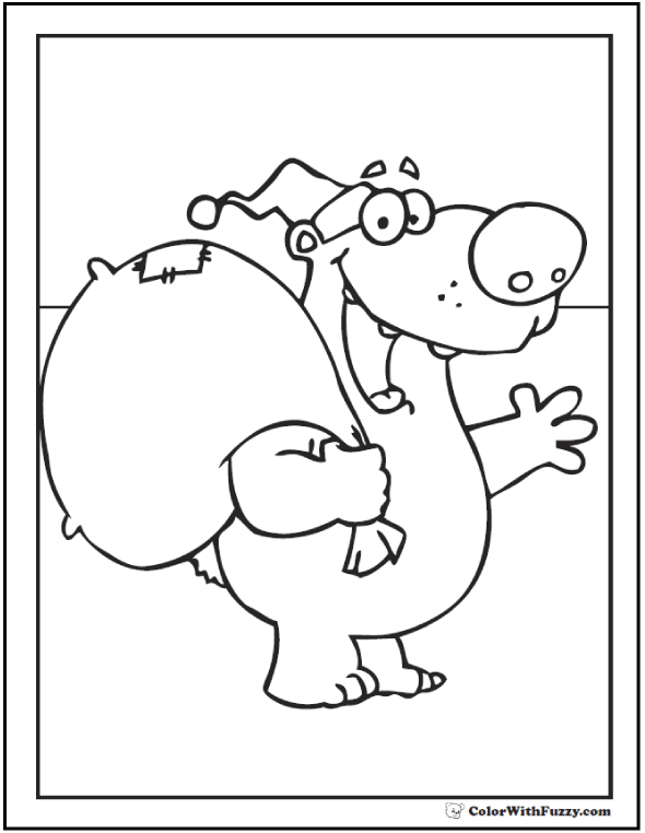 Polar Bear Santa Bearing Gifts! Polar bear coloring page.