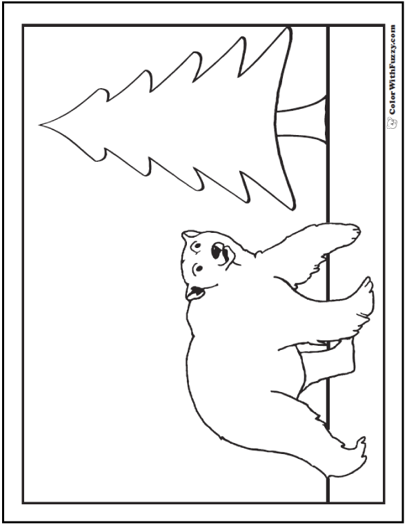 Hudson Polar Bear Picture To Color. Bear by tall evergreen tree.