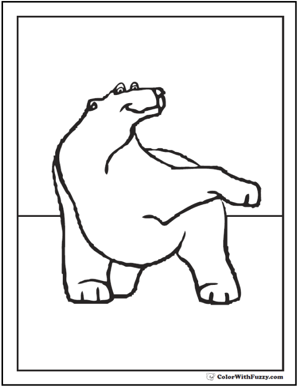 Polar Bear Waving Paw: Polar bear coloring page.