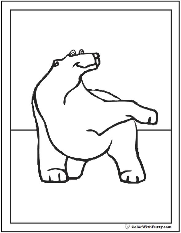 Polar Bear Waving Paw: Polar bear coloring page.