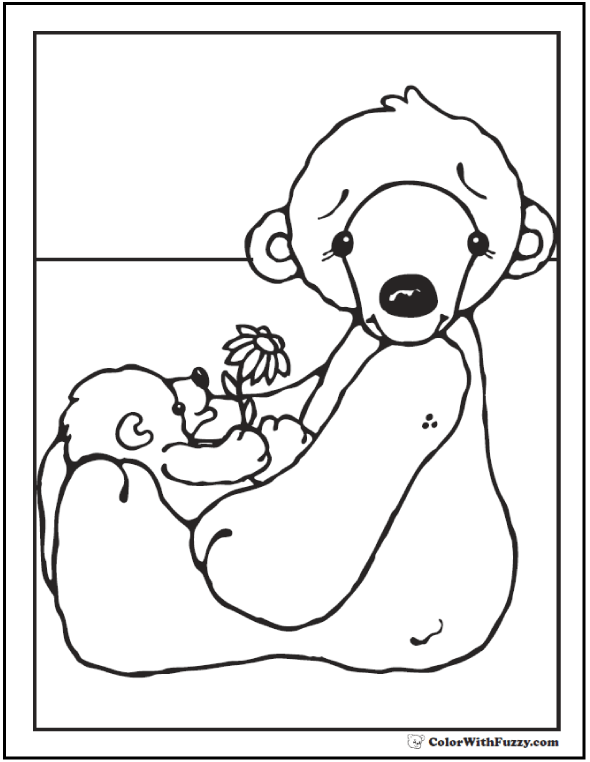Polar Bear Momma & Cub:  Polar bear coloring page.